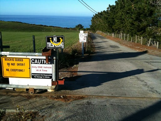 The sole access road to Martin's Beach was locked after Khosla purchased an adjacent property. Credit: Anneliese Agren @coastroad