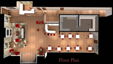 Floor Plan of Lobby for Comfort Suites at Dallas Executive Airport (SketchUp)