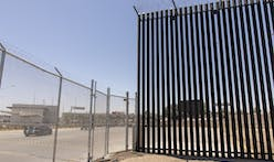 Section of US-Mexico border wall topples over in high winds