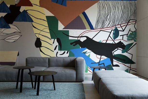 "A mural ""Animals escape into the city"" by Jelena Bando"