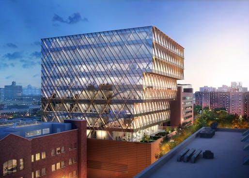 Rendering of Harlem's new New York City Public Health Laboratory. Image © SOM | ATCHAIN