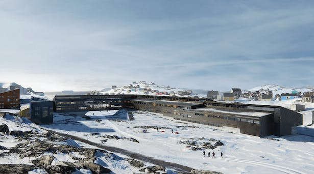 Iron and Metal School in Sisimiut by KHR Architecture.The illustration shows how the Iron and Metal School will blend beautifully into the landscape of Sisimiut. To preserve the passage through the town, a building bridge is spanned over the track where the townspeople move through the town on foot, dog sled, bicycle or snowmobile. Illustration: KHR Architecture