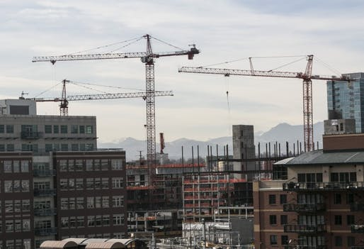 Construction cranes fill lower downtown Denver on Thursday, Feb. 18, 2016 (photo by Nathaniel Minor/CPR News)
