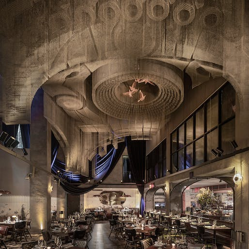 Tresoldi Studio's ceiling installation <i>Fillmore</i> inside Cathédrale restaurant designed by Rockwell Group. © Roberto Conte