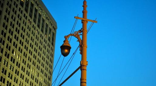 Street lamp in downtown Detroit. The mayor's plan would stop illuminating blighted neighborhoods, and spend more to light the rest. (JVLIVSPhoto / Creative Commons)