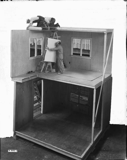 Full scale cross section showing FPL prefabricated construction to be built for the exhibition. Demonstration house, 1937. Photo © Courtesy of USDA Forest Products Lab.