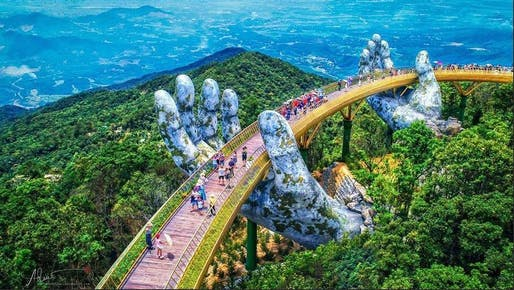 The Golden Bridge at the Ba Na Hills mountain resort in Da Nang, Vietnam. Photo via Review Da Nang/Facebook.
