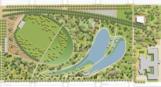 Plan view of the new Scissortail Park in Oklahoma City. Image courtesy of Hargreaves Associates.