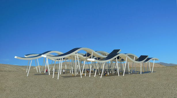 The Solar Canopy Pavilion, a public gathering place that makes electricity from the sun for the local community.