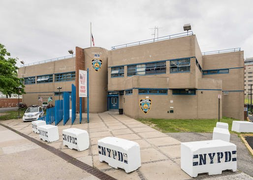 "49th Precinct, Bronx. Built manifestation of the NYPD's mission statement core values ""Compassion, Courtesy, Professionalism, Respect""? Photo © Kris Graves."