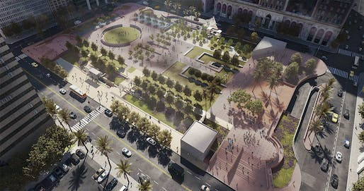 Proposed modifications for Pershing Square, Phases 1 & 2. Image: Agence Ter/Gruen Associates.