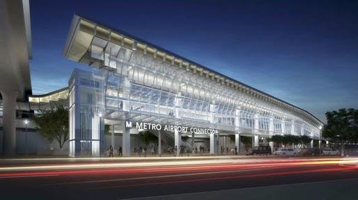 A rendering of the Airport Metro Connector station. Image courtesy of Grimshaw Architects.