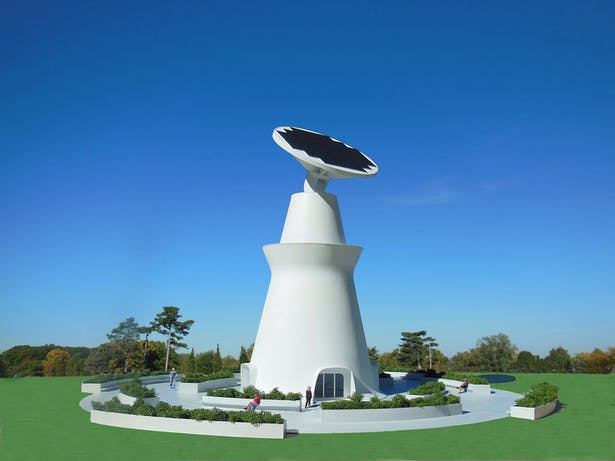 The Solar Visitors Center that makes electricity form the sun for the local community.
