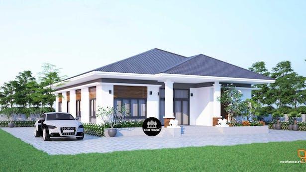 Mẫu thiết kế biệt thự vườn 1 tầng hiện đại anh Linh Tiền Giang thumbnail