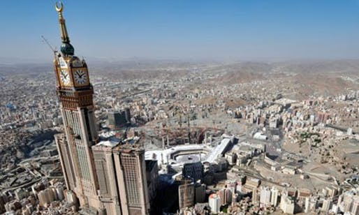 Arabian heights ... the Abraj al-Bait looms over the Grand Mosque and Kaaba in Mecca, Saudi Arabia. Photograph: Fayez Nureldine/AFP/Getty