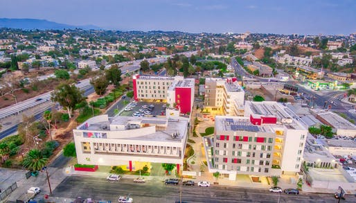 """The housing complex Path Metro Villas, designed by KFA Architecture, was recently selected by the American Institute of Architects Los Angeles as an Affordable Housing winner in the chapter's annual <a href=""""https://archinect.com/news/article/150267627/barbara-bestor-kevin-daly-and-many-others-named-winners-of-this-year-s-aia-la-residential-architecture-awards"""">AIALA Residential Architecture Awards</a>. Photo: Jonathan Ramirez."""