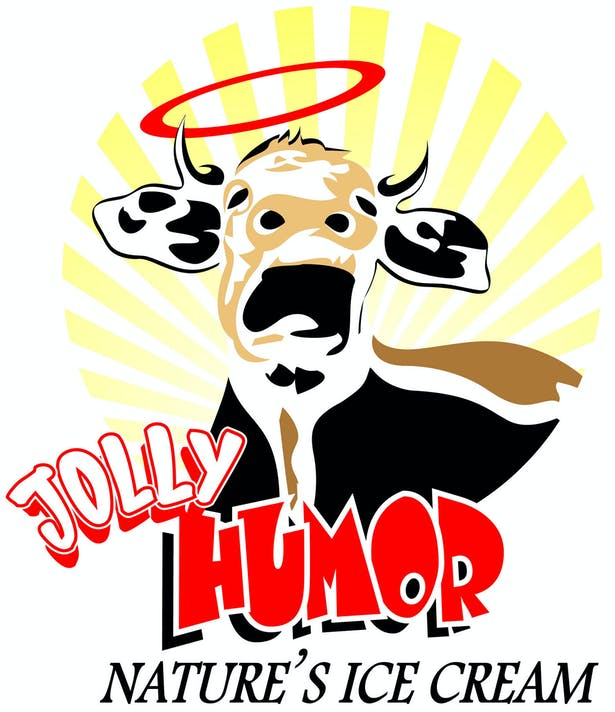 This Art Institute school project is a logo design for 'Jolly Humor Ice Cream'.
