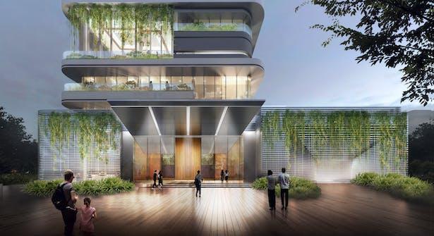 Vertical Siheyuan Entrance hanging Green Canopy