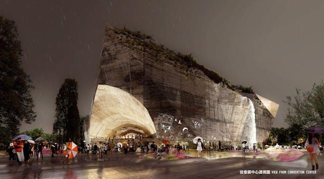 Rendering of the Taichung City Cultural Center Entry by Sériès et Sériès (Image: Labtop)