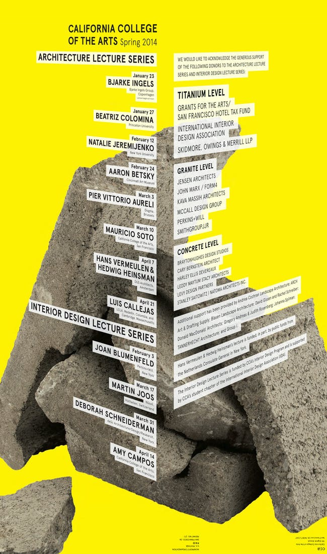 Backside of CCA's Spring '14 Lecture Series poster. Image courtesy of CCA Architecture Division.