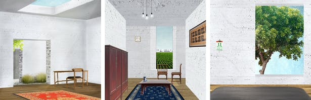 Landscape within a house: Landscape is celebrated in different ways within each household: the study room window on the ceiling frames the sky, the living room window frames the collective agriculture landscape, and the bedroom window frames a specific moment of the picturesque garden.