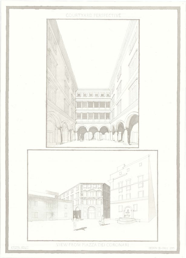 Perspective in courtyard and exterior perspective from Piazza dei Coronari