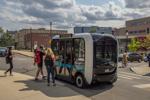 Autonomous cars, buses, and vans, like Local Motors' Olli, redefine commuting and thus the value of property. Image: Local Motors.