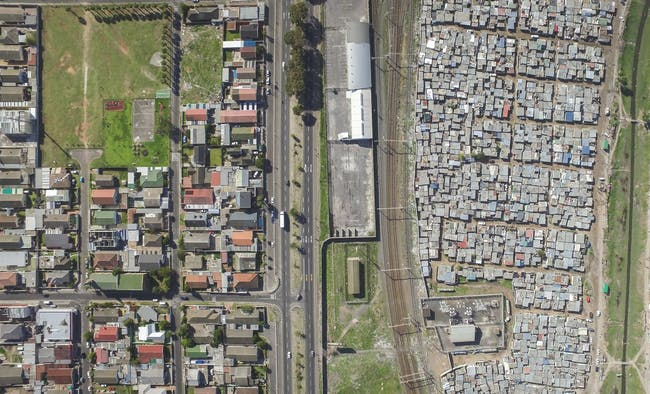 Manenberg / Phola Park, Cape Town, South Africa, from the drone photo series 'Unequal Scenes' by Johnny Miller.