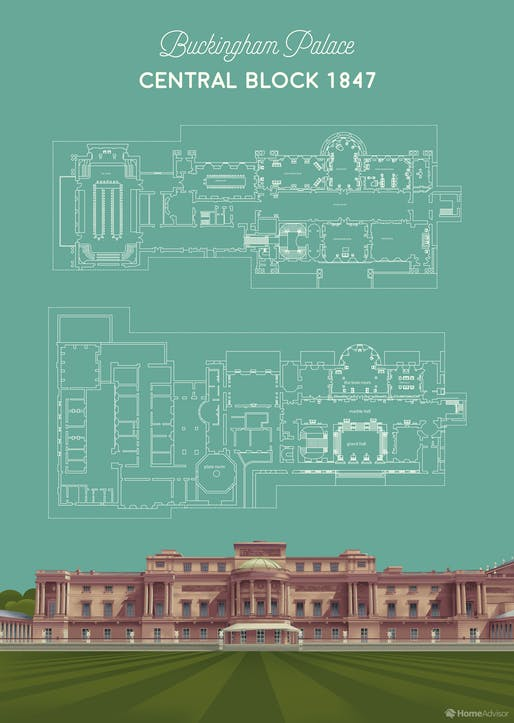 "The Central Block of Buckingham Palace. All images courtesy of <a href=""https://www.homeadvisor.com/r/buckingham-palace-floor-plan/"">HomeAdvisor</a>"