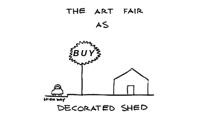 The White Tent art fair typology as a (un)decorated shed. Manipulation of original drawing by Robert Venturi.