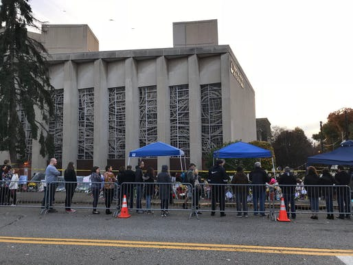 """Pittsburgh's Tree of Life – Or L'Simcha Congregation became a place of mourning following the mass shooting on October 27, 2018 — the deadliest attack on the Jewish community in the United States. Photo: Wikimedia Commons user <a href=""""https://en.wikipedia.org/wiki/Pittsburgh_synagogue_shooting#/media/File:Tree_of_Life_%E2%80%93_Or_L'Simcha_synagogue_facade.jpg"""">daveynin</a> (CC BY 2.0)"""