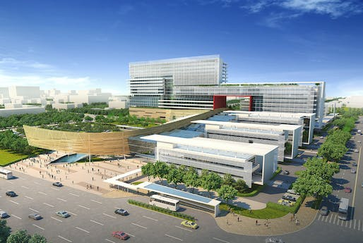 The First People's Hospital rendering by HMC Architects, located in Shunde, CN. Image: HMC Architects.