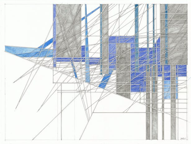 """blue and gray 2019-006 18"""" x 24"""" pencil, color pencil, ink on paper"""
