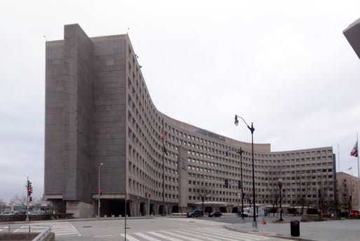 The Robert C. Weaver Federal Building, Department of Housing and Urban Development Headquarters in Washington, D.C., designed in 1965 by Marcel Breuer. Image courtesy of Flickr user Gunnar Klack.
