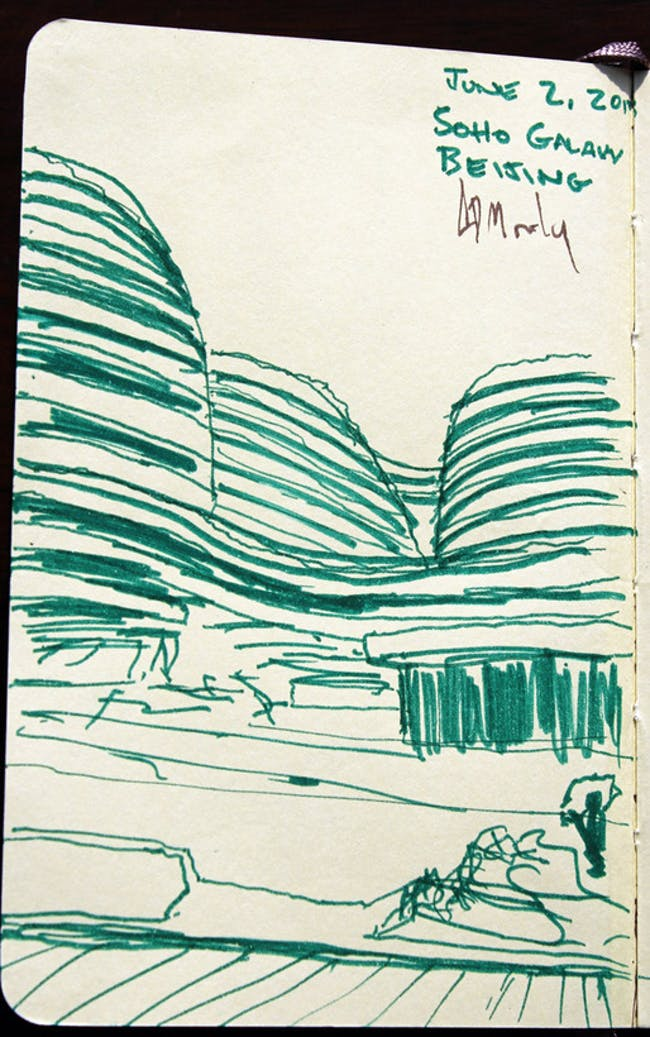 quick sketch of Zaha Hadid's Galaxy Soho via Alexander Morley