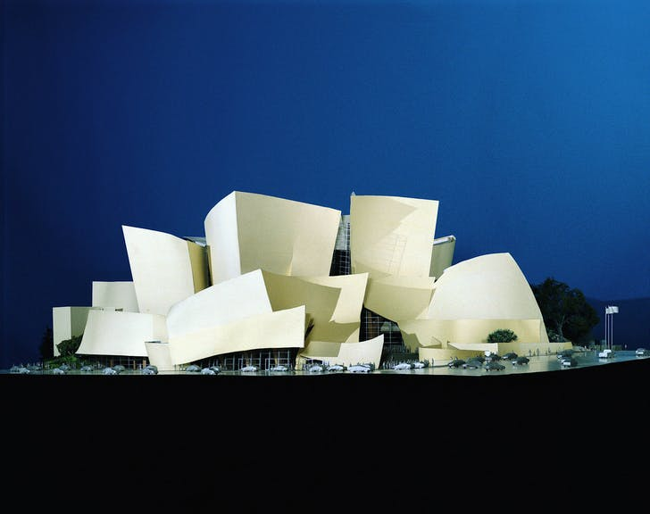 Model of Walt Disney Concert Hall, on display at both the LACMA and Pompidou exhibitions. Image courtesy of LACMA.