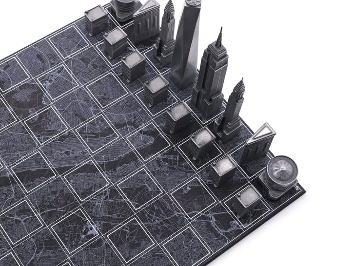 Powder Coated Metal New York Chess Set. Image: Skyline Chess