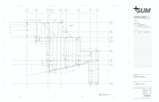 Framing Plan - Only a few drawings were produced on the project, specifically where we had to explain fabrication and sequence to those outside the immediate team. Those components included the base structure and steel structure, all other components were fabricated and assembled via the digital design model.