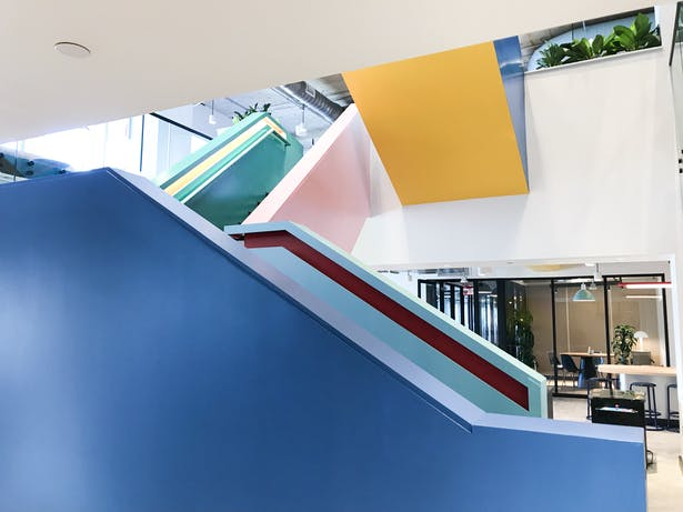 Stair color blocking composition