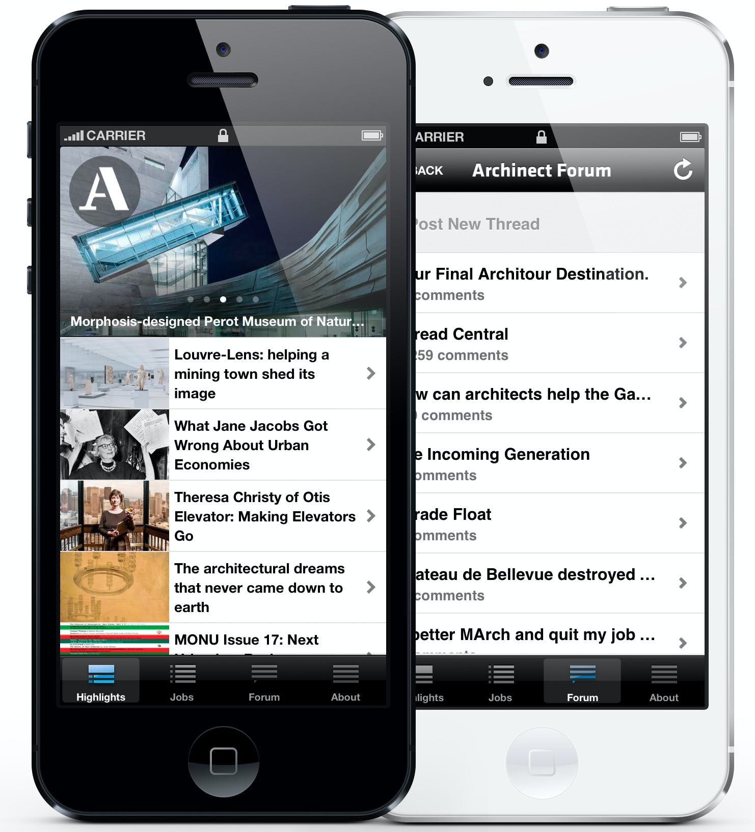 the archinect iphone app is updated with discussion forum job