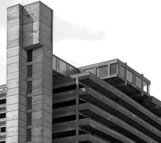 The Trinity Centre Car Park in Gateshead, England was designed in 1962 by the Owen Luder Partnership and appeared in the 1971 film <em>Get Carter</em>. The building was demolished in 2007. Image courtesy Wikimedia Commons user Rodge500.