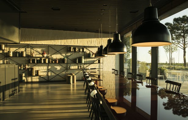 Community table in the restaurant at the promenade level