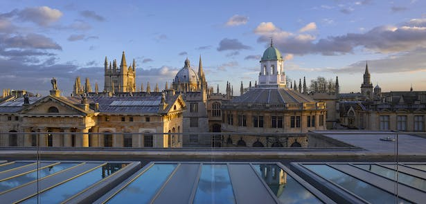 Weston Library - View of Oxford's 'dreaming spires' from the new roof terrace