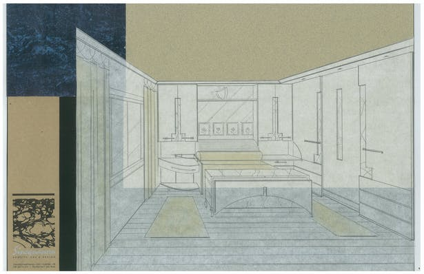 Young Lady's Condo   Living Room Bachelor's Condo   Interior Hand-Sketch
