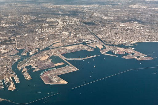 Aerial view of Ports of Los Angeles (left) and Long Beach (right).