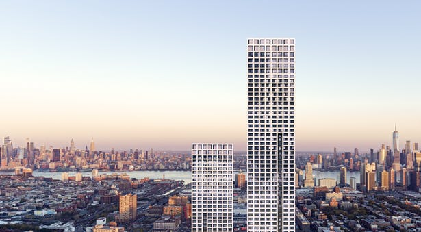 A new 68-story rental building is the tallest of the three-phase Journal Squared development in Jersey City, NJ. Photo Credit: Qualls Benson