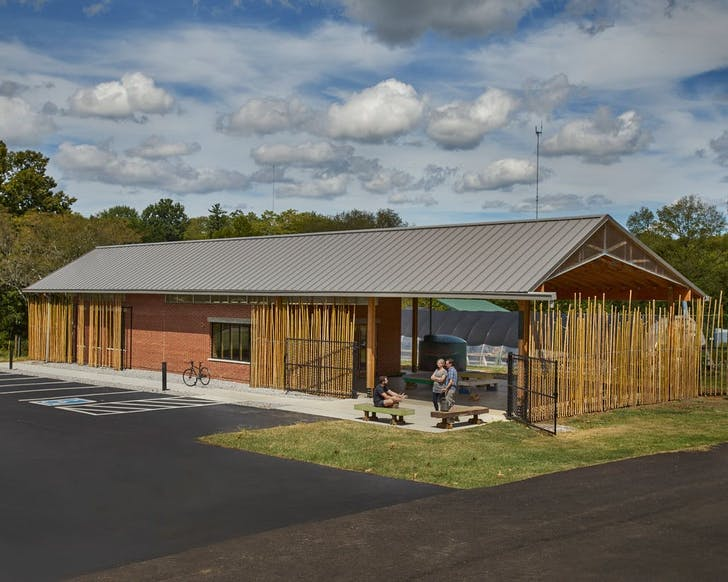 Education Center for Beardsley Community Farm in Knoxville, TN. Designed by Jennifer Akerman, AIA and the University of Tennessee College of Architecture + Design with Elizabeth Eason Architects. Photo by Bruce Cole Photography.