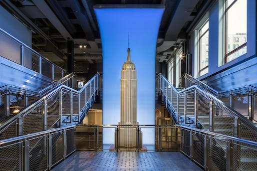 The 2-story-tall model of the Empire State Building inside its new observatory deck visitor center on 34th Street. Photo: Evan Joseph, via New York Yimby.