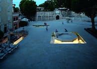 the Petra Zoranica town square in Zadar, Croatia