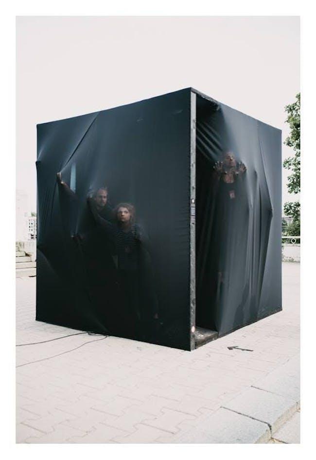 Urban installation 'Minusoid is Sinusoid' in Tartu, Estonia by Liina Soosaar together with designer Annika Kangur, DJ Madis Vahtramäe, writer Mariann Tihane and architect Merilin Kaup; Photo- Patrik Tamm